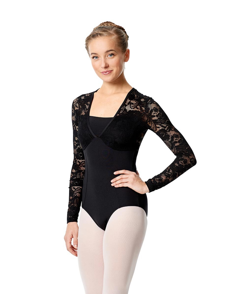 Long Sleeve Lace Leotard Jaida BLACK