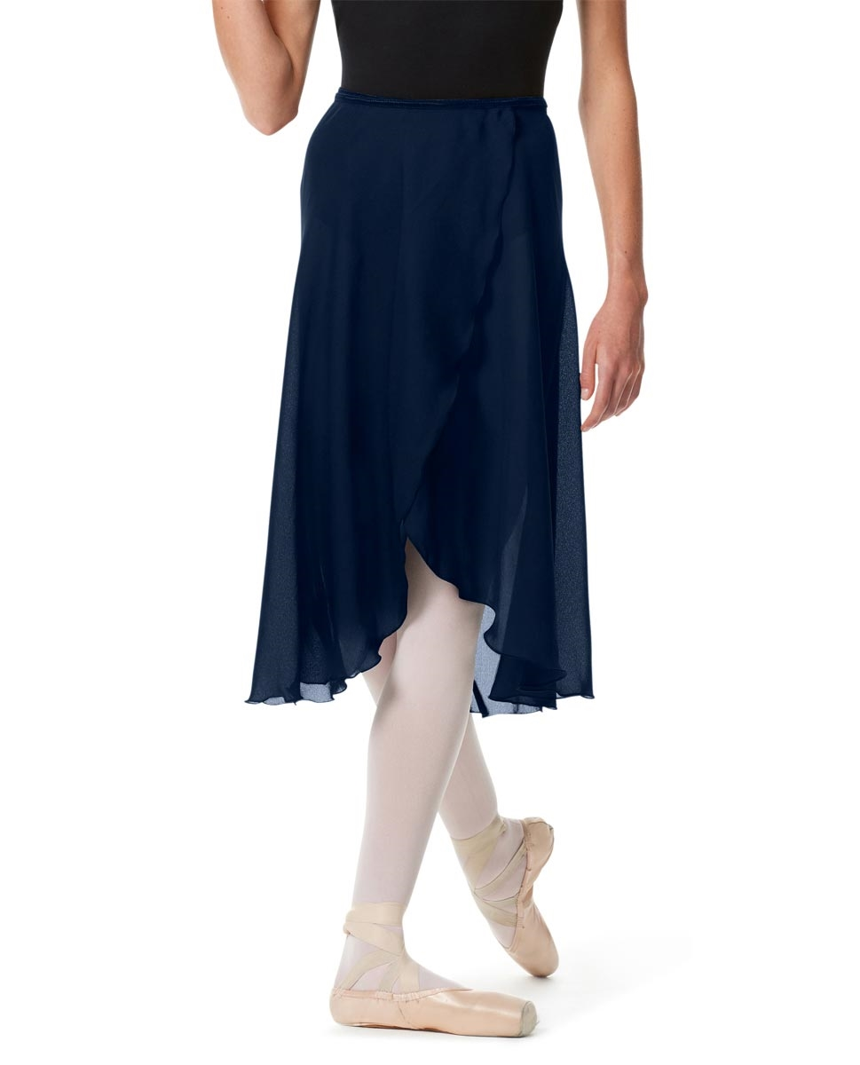 Knee Length Georgette Ballet Skirt Renee NAVY