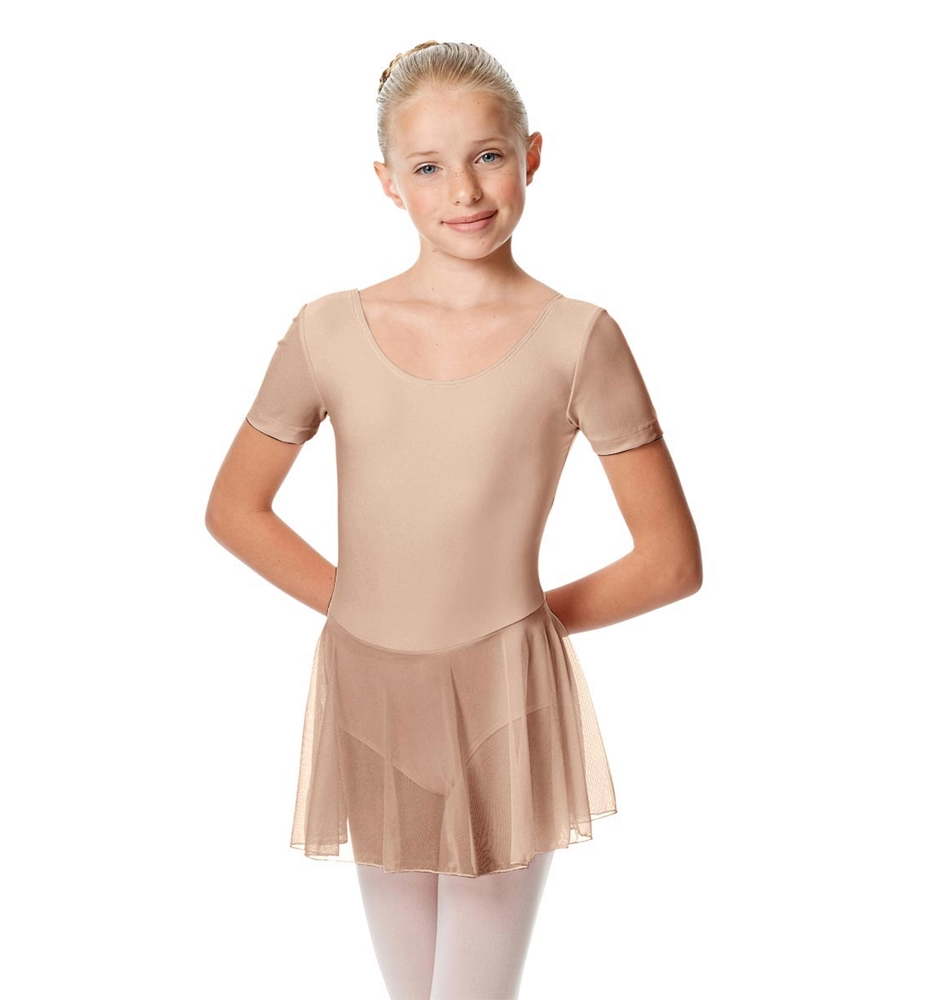 Girls Cap Sleeve Skirted Leotard Nelly NUDE