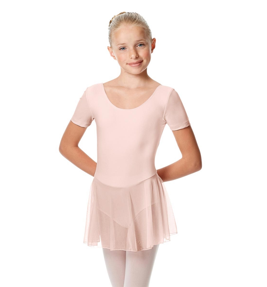 Girls Cap Sleeve Skirted Leotard Nelly PINK