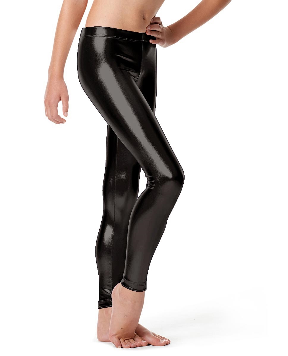 Girls Metallic Ankle Leggings Nadine BLACK