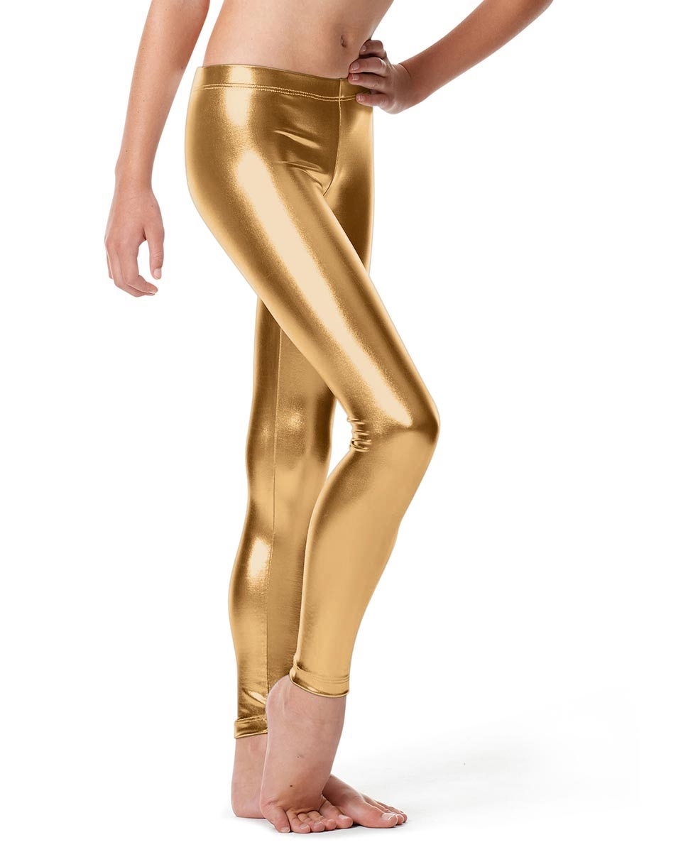 Girls Metallic Ankle Leggings Nadine GOLD