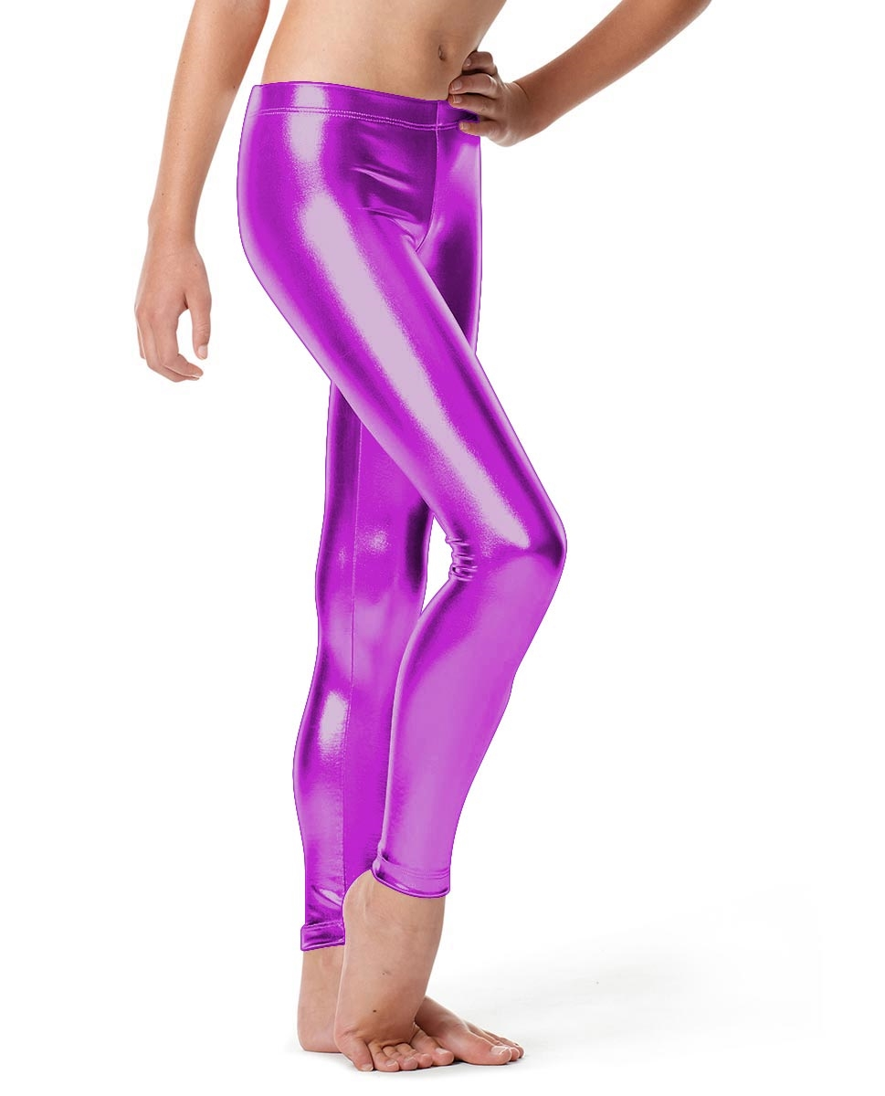 Girls Metallic Ankle Leggings Nadine PURPLE