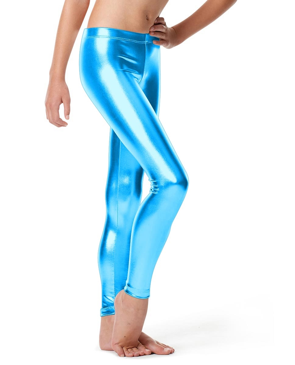 Girls Metallic Ankle Leggings Nadine TURQUOISE
