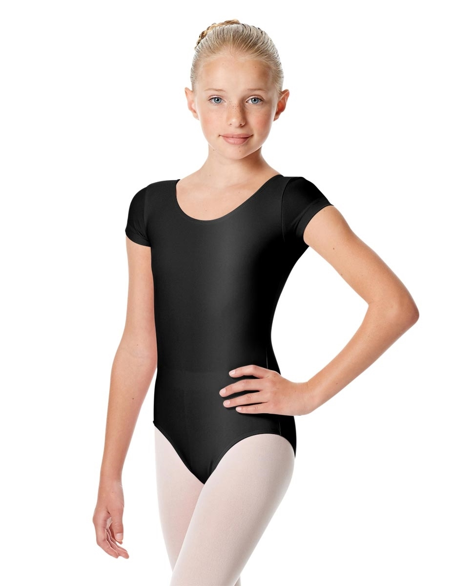 Girls Shiny Lycra Short Sleeve Leotard Anastasia