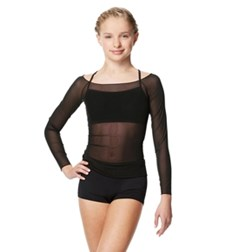 Girls Mesh Long Sleeve Dance Top Faith